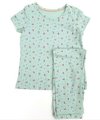Girls Pyjama's Green Ditsy Floral Short Sleeve Full Leg PJ's M&S Age 4 5 6 7 8