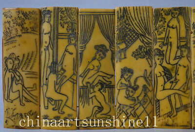 Rare Chinese Book Series Handmade Carved Belle Statue Book Painting