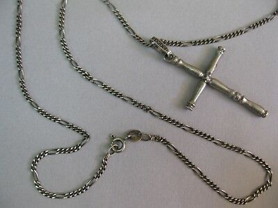 Vintage Sterling Silver Mens Cross Necklace 925 MEXICO