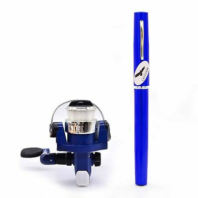(Blue) - Freehawk Mini Carbon Fibre Telescopic Pen Fishing Rod Pocket Pen