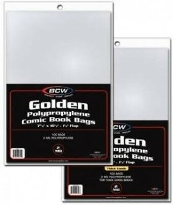 BCW Golden Comic Book Bags - (5 Pack) Collecting Supplies , Thick (8 X 10 1/2)