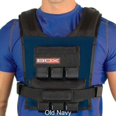 (Navy) - 14kg BOX Weight Vest - Made in USA - Lifetime Warranty. Free Delivery