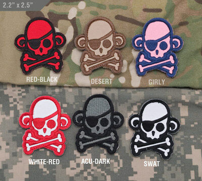 Mil-Spec Monkey Embroidered Pirate Skull Jolly Roger Flag Patch ACU Grey /& Black
