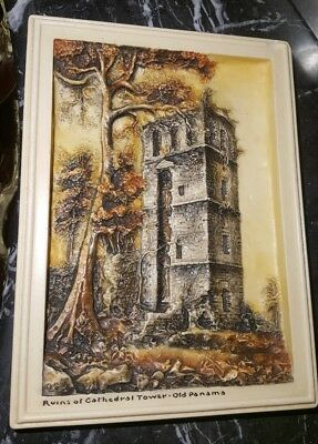 """Vintage Ivorex Art """"ruins Of Cathedral Tower Old Panama"""" Plaque Made In England"""