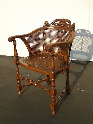 Vintage French Country Provincial Ornate Floral Motif Cane Club CHAIR w Cushion