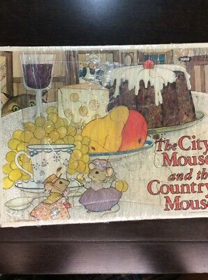The City Mouse And The Country Mouse Vintage Cardboard Puzzle Jaymar 12 Pcs