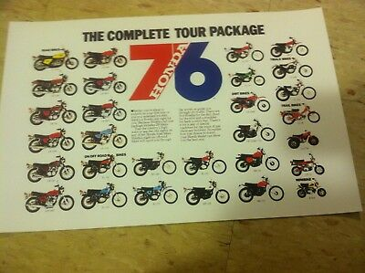 Vintage 1976 Honda Complete Line Advertisement Poster Home Decor Gift