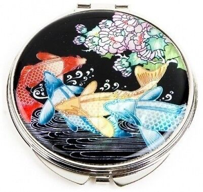 Silver J Hand mirror with mother of pearl, compact type, handmade oriental