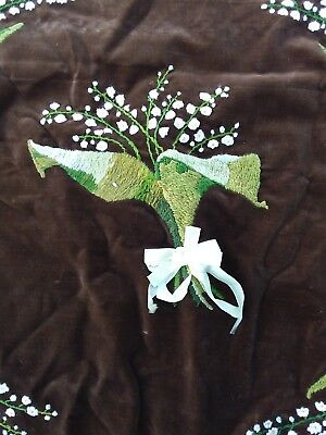 1880 C. Drapes Chocolate Brown Velvet & Lily Of The Valley