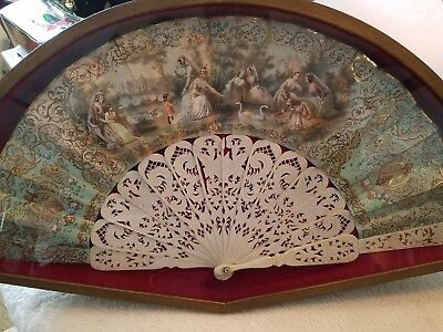 Antique Early  French Stick Fan Hand Painted UNDER GLASS IN WOODEN CASE BEAUTIFU
