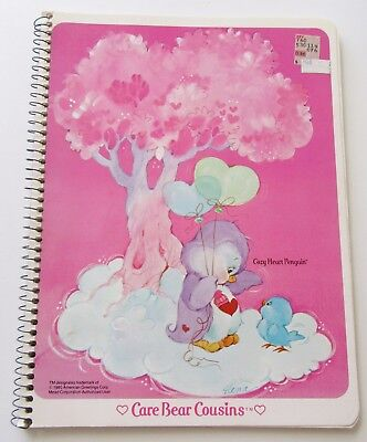 Vtg 1980's Cozy Heart Penguin Spiral Ruled Notebook Unused Care Bears by Elena