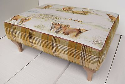 New Large Handmade Footstool - Voyage Highland Cattle & Moon Huntingtower Wheat!