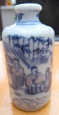 Vintage Chinese Blue and White and Red Porcelain Snuff Bottle