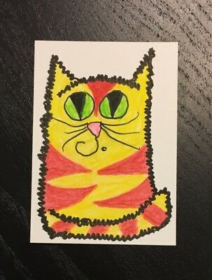 Sale ACEO Original Watercolor - Red & Yellow Tabby Cat - jenal