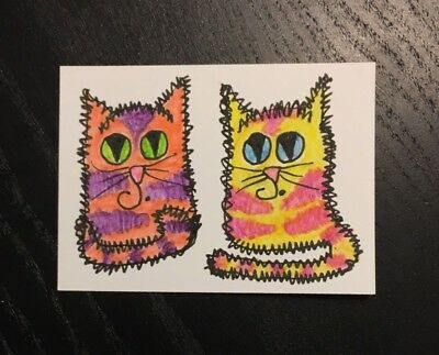Sale ACEO Original Watercolor - Bright Colorful Tabby Cats - jenal