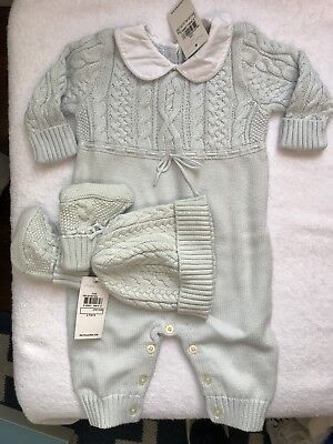 NIB Ralph Lauren Aran Knit Baby Coverall Layette + hat + booties - blue 6 mo
