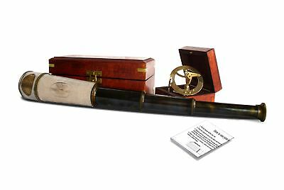 18inch nautical hand held telescope with brass sundial compass and antique de...