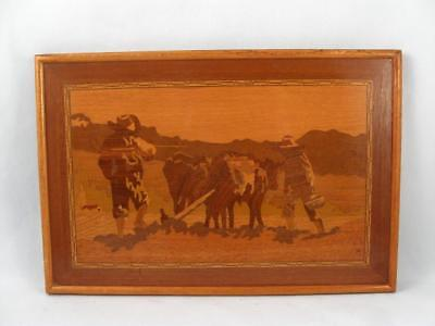 Antique/vintage Wood Inlay Marquetry Framed Picture Of A Plowing Scene Signed