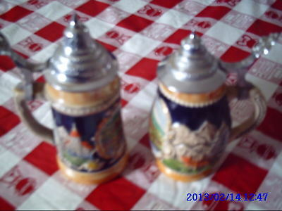 """Two German Beer Steins,approx.6"""" High-Heidelberg Main Picture. Very Colorful"""