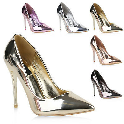 Spitze Damen Pumps High Heels Metallic Lack Stilettos Party Schuhe 820383 Trendy