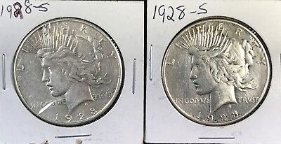 (2) 1928-S U.S. Silver Peace Dollar Coins- Key Date - 121414