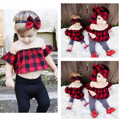 New Kids Baby Girl Plaid Off Shoulder Top Blouse T-shirt Outfits Summer UK Stock