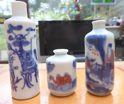 Vintge Chinese Blue & White and Blue, White and Red porcelain Snuff Bottles