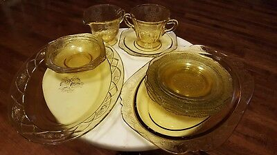 Vintage Depression Glass Lot Yellow Etched Depression Glass Bowl Plate Saucer