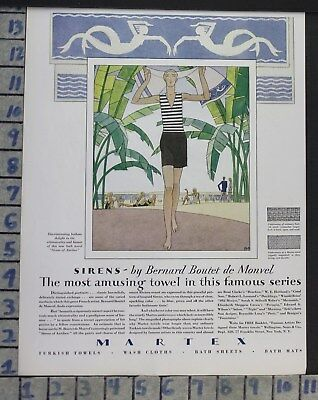 1929 Martex Siren Beach Towel Bernard Monvel Sport Deco Art Mermaid Ad  Cg63