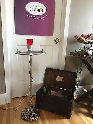 RARE Antique Holland Brass Works  Portable Funeral Mass Stand w/Red light & Case