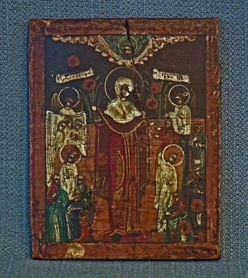 Antique 18th century Russian Orthodox Icon Mother of God Joy of All Who Sorrow