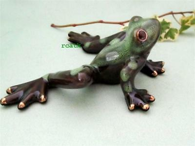 FROG Green Black Golden Pond Realistic Ceramic Sculpture Whimsical Garden Art