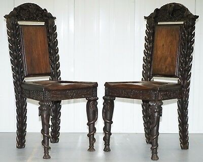 Rare Pair Of Anglo Indian Elephant Chairs, Highly Carved With Birds Flowers Etc