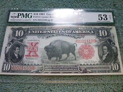 1901 $10 Legal Tender Large Note Currency Buffalo Bison PMG 53 AU Lyons Roberts