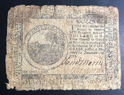 U.S. Continental Currency 6 Dollars - November 29, 1775 - CC-16-110205