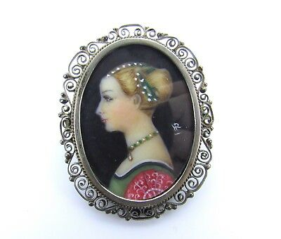 Signed Ant. Victorian Painted Miniature 800 Silver Filigree Portrait Pin Brooch