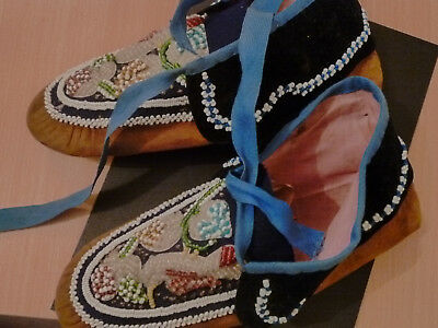 Antique? Native American Fully Beaded Hide Moccasins Adult Size
