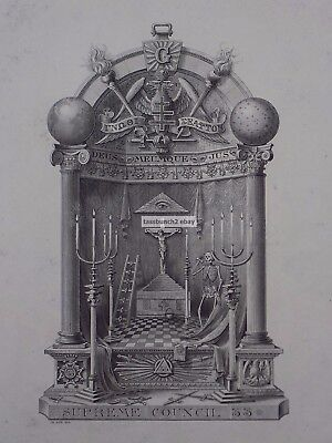 1900 Most Elaborate Masonic Bookplate Ex-Libris Supreme Council 33 ,w.p. Barrett