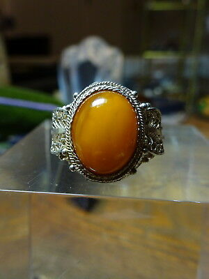 Vtg Chinese Export Silver Filigree Adjustable Ring with Yellow Yolk Amber