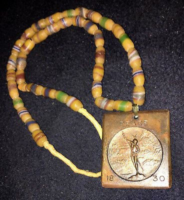 1830 Choctaw Native Alabama Peace Medal Spear Fishing GLASS TRADE BEAD NECKLACE