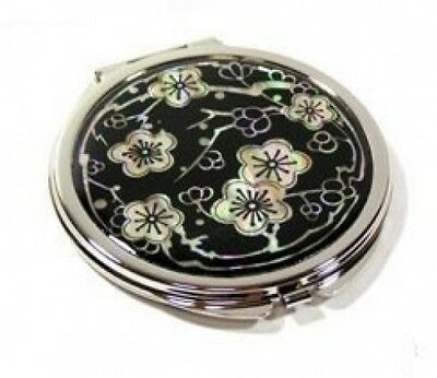Silver J Portable mother of pearl double hand mirror, compact type, black