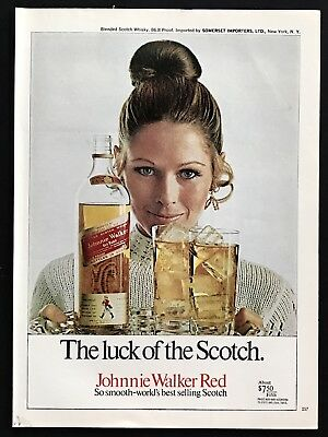 1970 Vintage Print Ad 70's JOHNNIE WALKER RED Luck Of The Scotch Tray Glass Ice