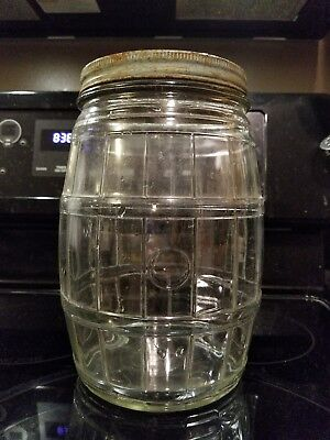 "Vintage Clear Glass PICKLE BARREL Jar w/ aqua Metal Lid 9.5"""" Tall Large"