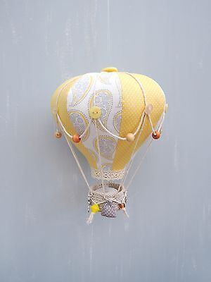 Handmade Hot Air Balloon Night light Nursery Baby Shower Decoration Yellow Grey