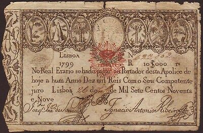 Portugal  10,000 Reis  1826  (old date 1799)  P41b