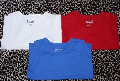 Lot of 3 Size 24m Boy Tank Top No Sleeve Shirts Solid Colors Red White & Blue