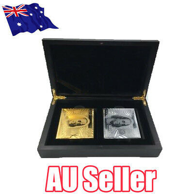 Set Of 2 $100 Gold & Silver Poker Playing Cards Deck Regular With Wooden Box BO