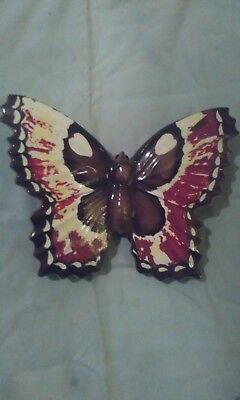 Vintage Antique Hand-Painted Butterfly Wall Pocket by Artmark