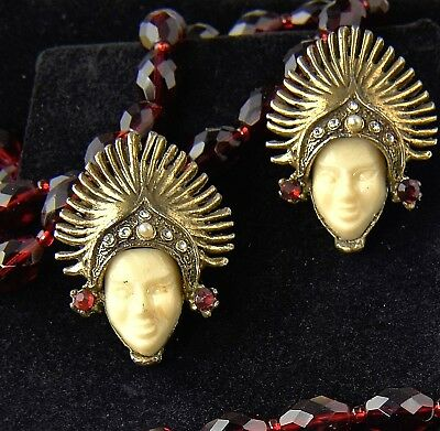 Vintage ASIAN PRINCESS Godess Face CLIP EARRINGS Selro Sellini Style Rhinestone