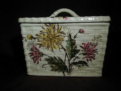 Vtg. Ceramic Biscuit/Cracker Canister/Box - Floral